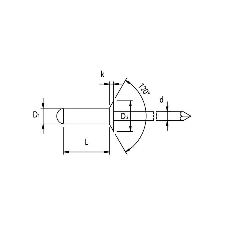 100 Blindnieten 4x8  Stahl//Stahl  Senkkopf  Standard Nieten 4,0